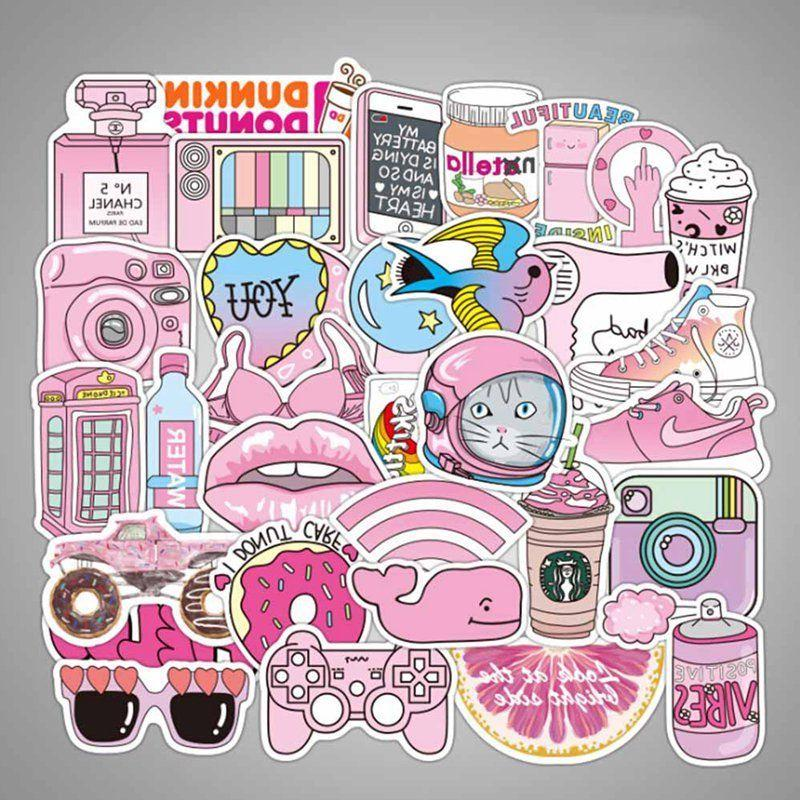 50pcs waterproof pink girls fun sticker toys