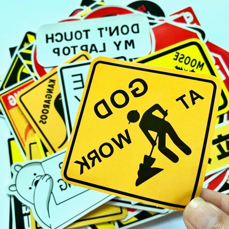 50 PCS Warning Stickers Danger Signs Waterproof Decal Snowboard <font><b>Car</b></font>