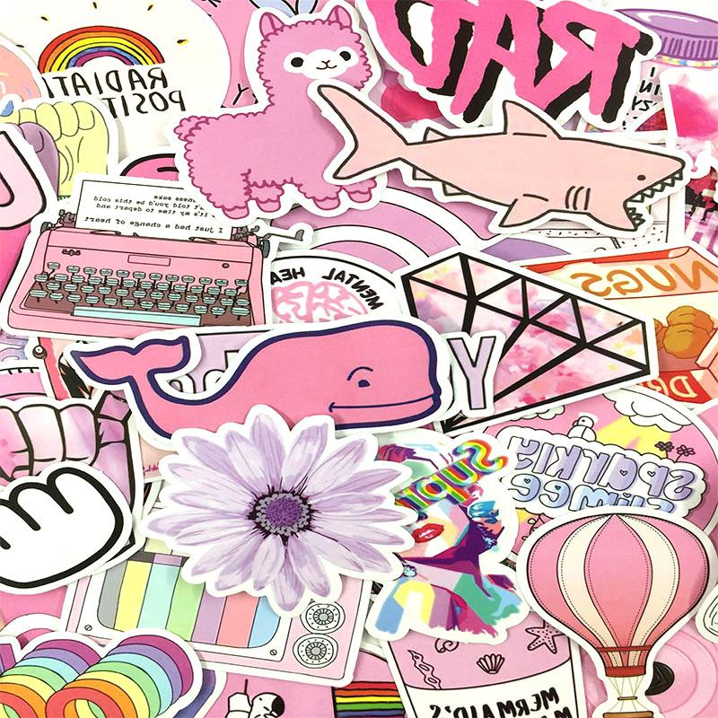 53PCS/lot Cartoon <font><b>Pink</b></font> Style Girl Luggage Notebook Toy