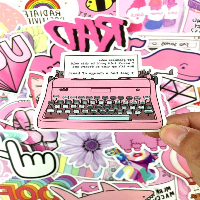 53Pcs/set <font><b>Pink</b></font> Graffiti <font><b>Sticker</b></font> For <font><b>Laptop</b></font> Luggage Skateboard Motorcycle Stationery <font><b>Stickers</b></font>