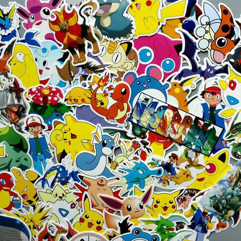 60PC Pokemon Pikachu Cartoon Sticker Skateboard Laptop Sticker Luggage Car Decal