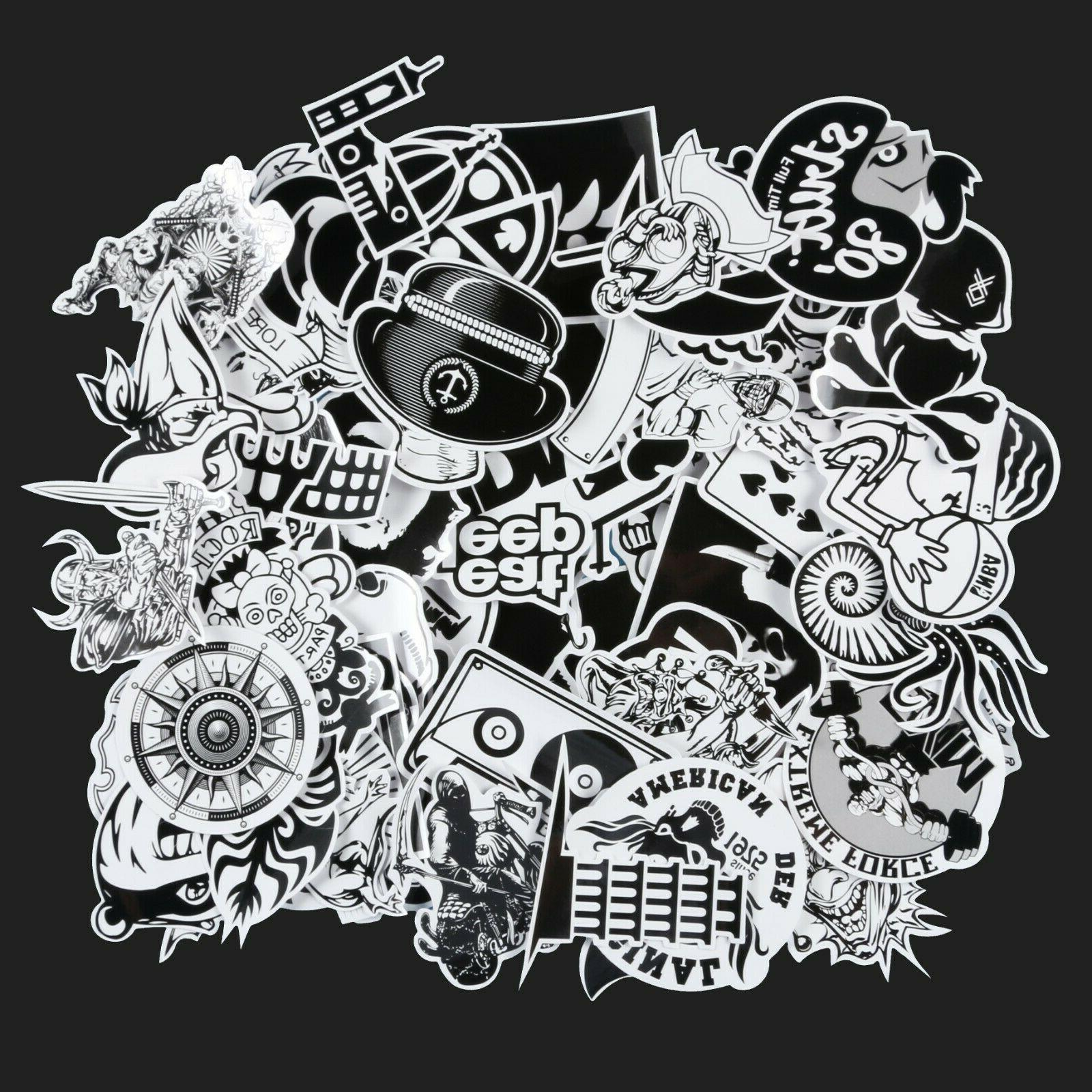 60pcs Black Stickers Pack,Skateboard Decals