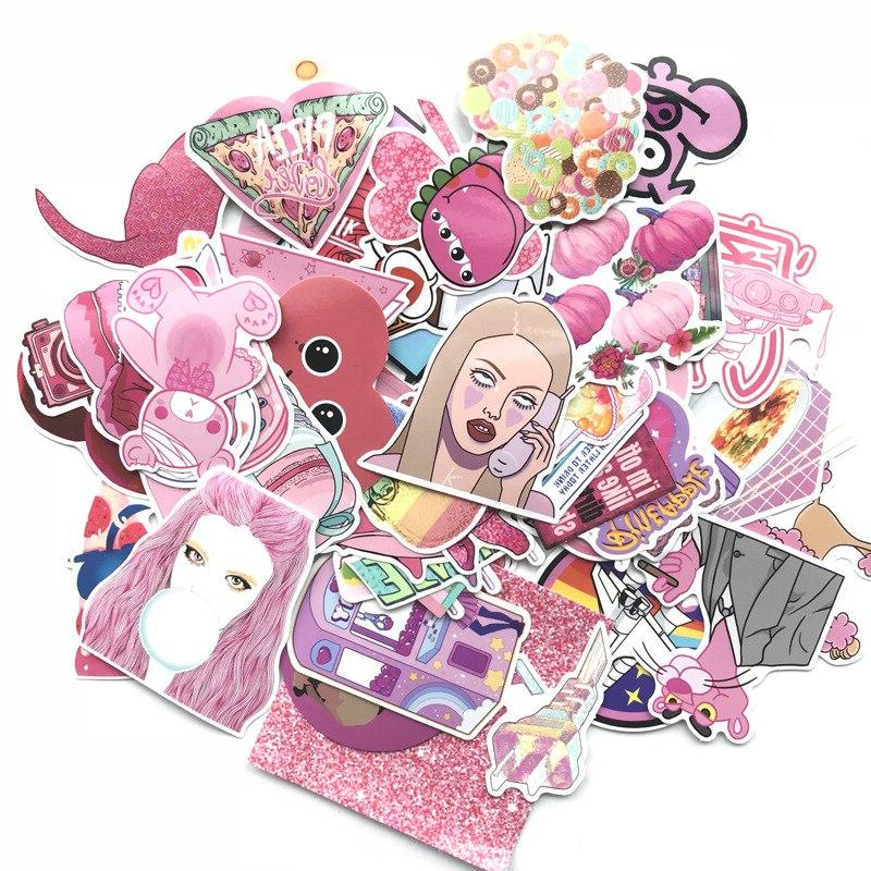 60Pcs Cute <font><b>Pink</b></font> Girl Series Graffiti Luggage Car