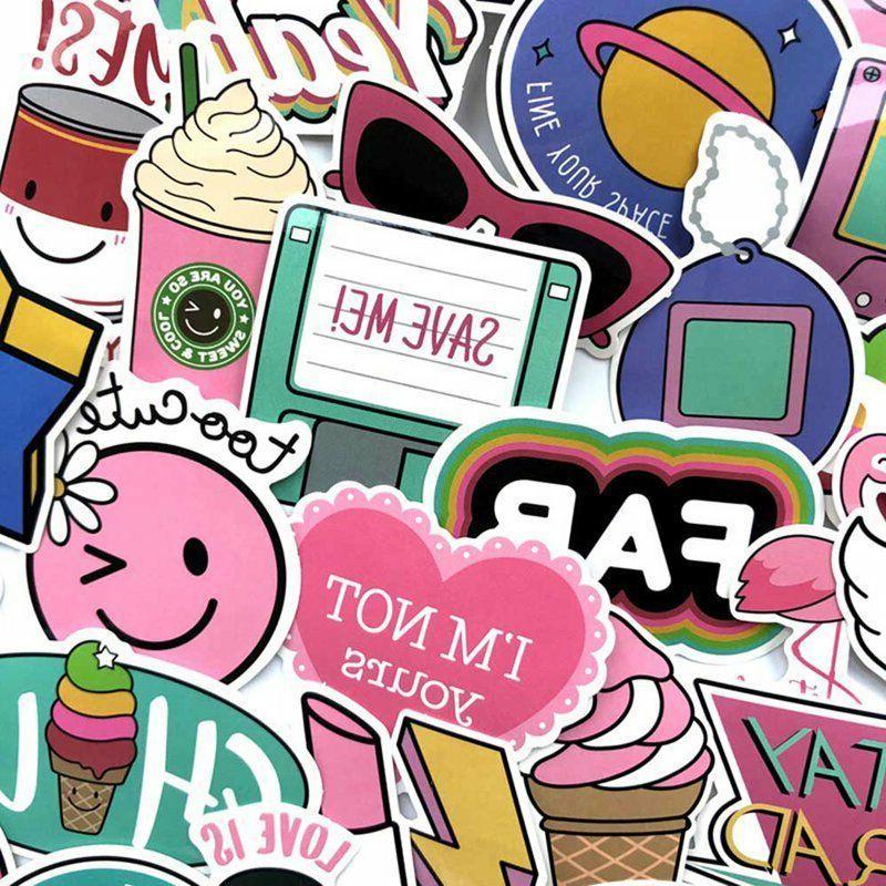 60pcs/set Pink Fun Sticker For Moto Suitcase New