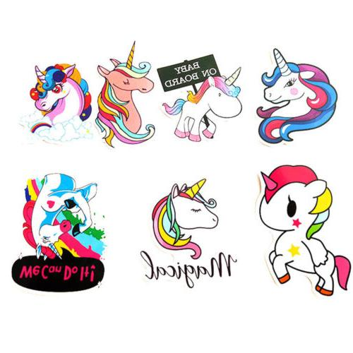 7Pcs/Set Unicorn Art Laptop Phone Luggage Travel Luggage Dec