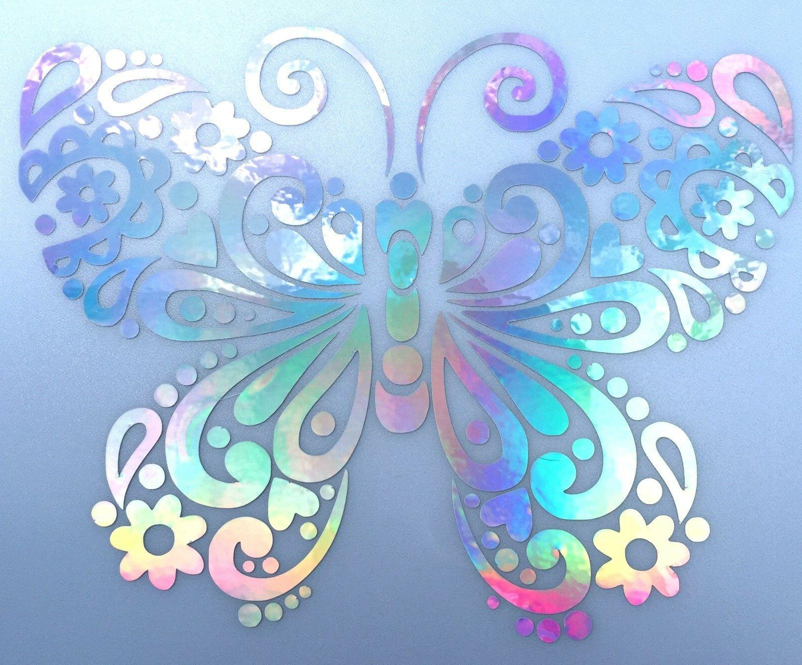 Butterfly Flower Fancy Rainbow Holographic Car Decal Sticker