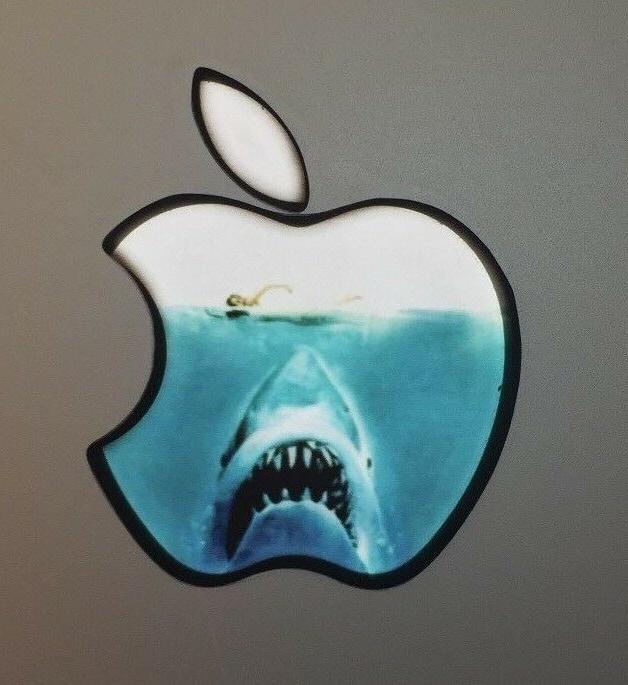 GLOWING JAWS SHARK  Apple MacBook Pro Air Mac Sticker Logo L