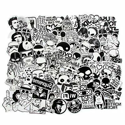Laptop Stickers Black and White 100pcs Variety Vinyl Car Sti