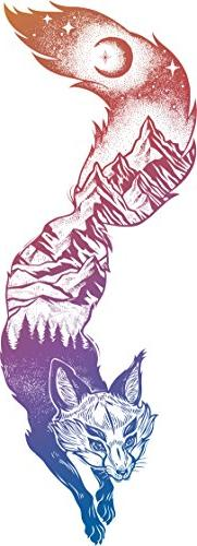 Mountain Forest Landscape Pen Art in Fox Silhouette - Rainbo