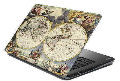 Multi-Color Map Laptop Sticker Cover Skin Protector Fits 14.