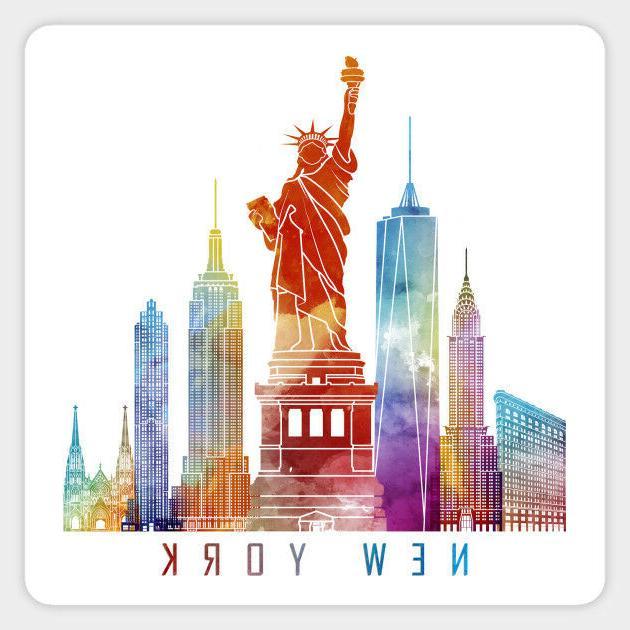New York City Skyline Watercolor Vinyl Decal Decor Sticker L