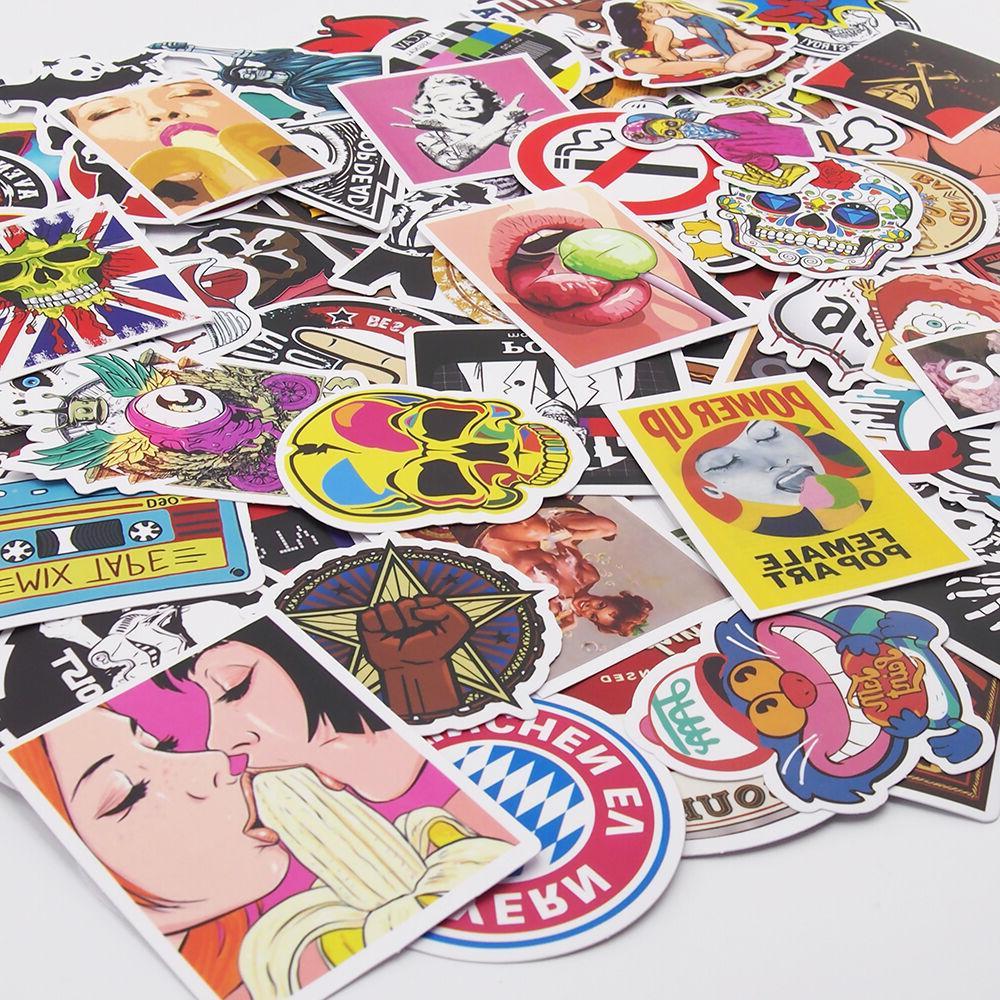 Pack of 100 Skateboard Stickers Vintage Vinyl Laptop Luggage