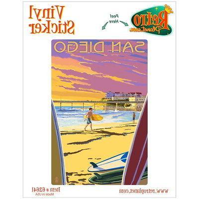 San Diego California Surfing Vinyl Sticker Travel Laptop Car