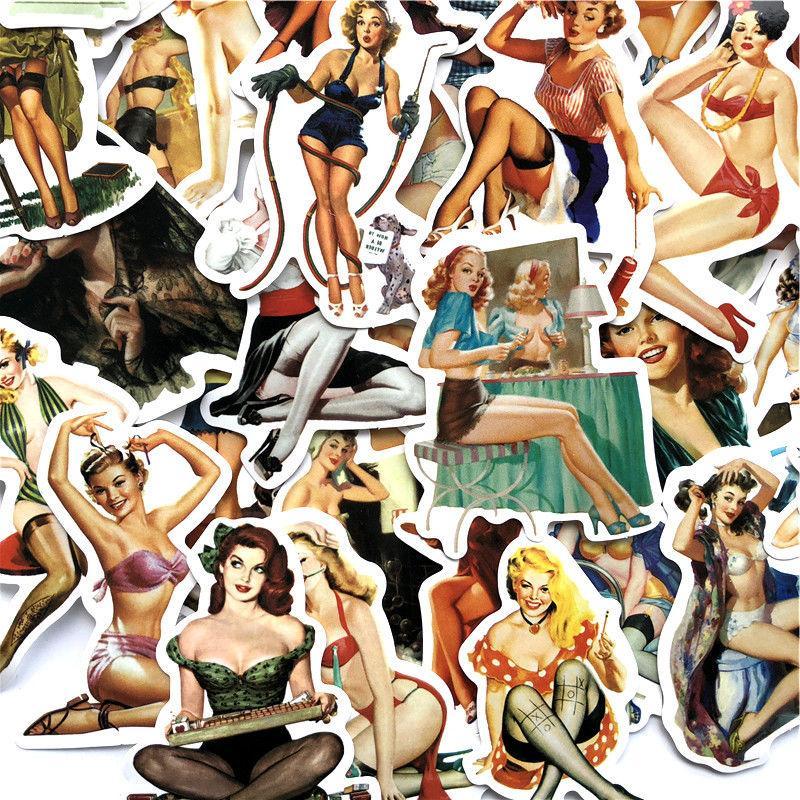 Sexy Pin-Up Sticker Pack, Mix Vinyl Decal, Retro 50 pc