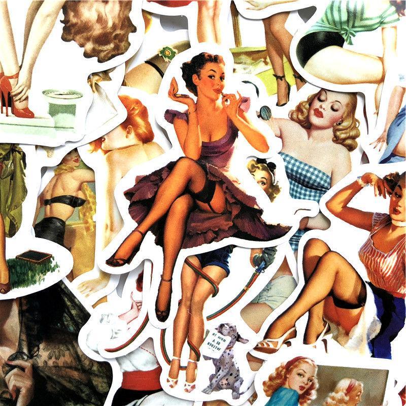Sexy Pin-Up Sticker Vinyl Decal, pc