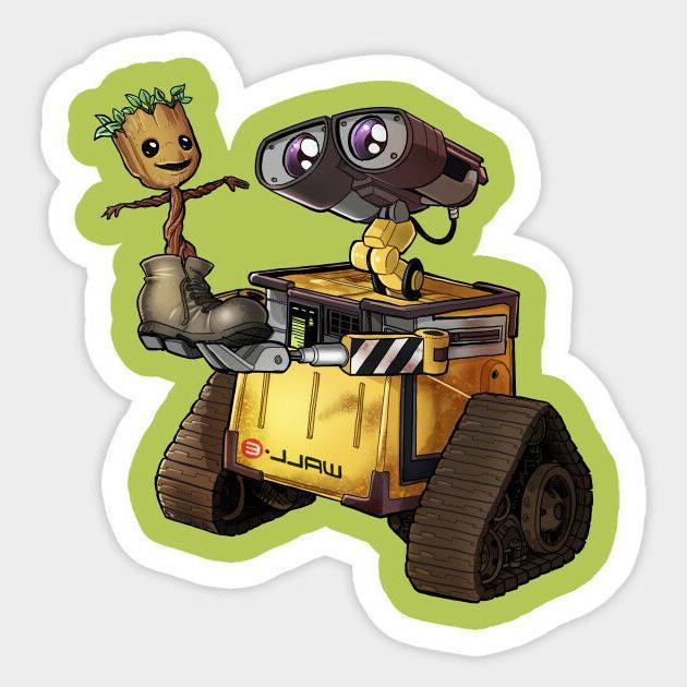 Wall-E & I Am Groot Best Friends Disney Vinyl Decal Room Dec