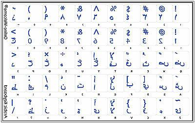 ARABIC KEYBOARD STICKERS LABELS TRANSPARENT BLUE  LETTERS FO