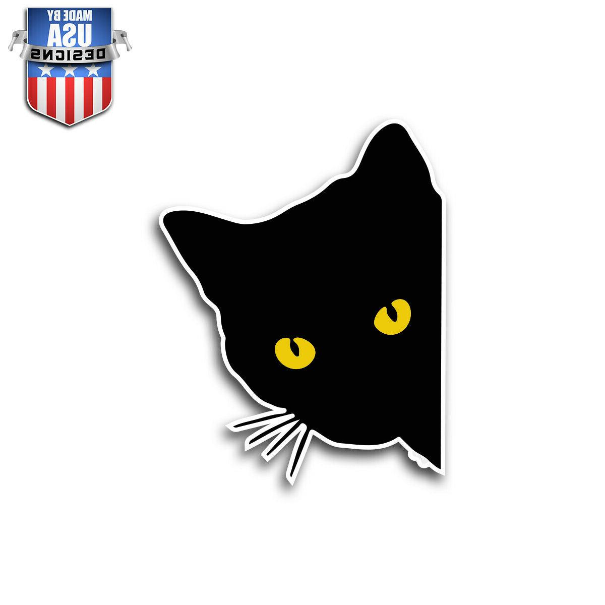 black cat peeking cute sticker decal phone