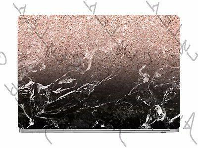 Black Marble Rose Gold Glitter Laptop Skin Vinyl Decal Stick