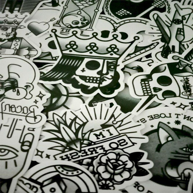 30 Black White Tattoo Sticker Bomb Skull Egyptian Laptop Ska