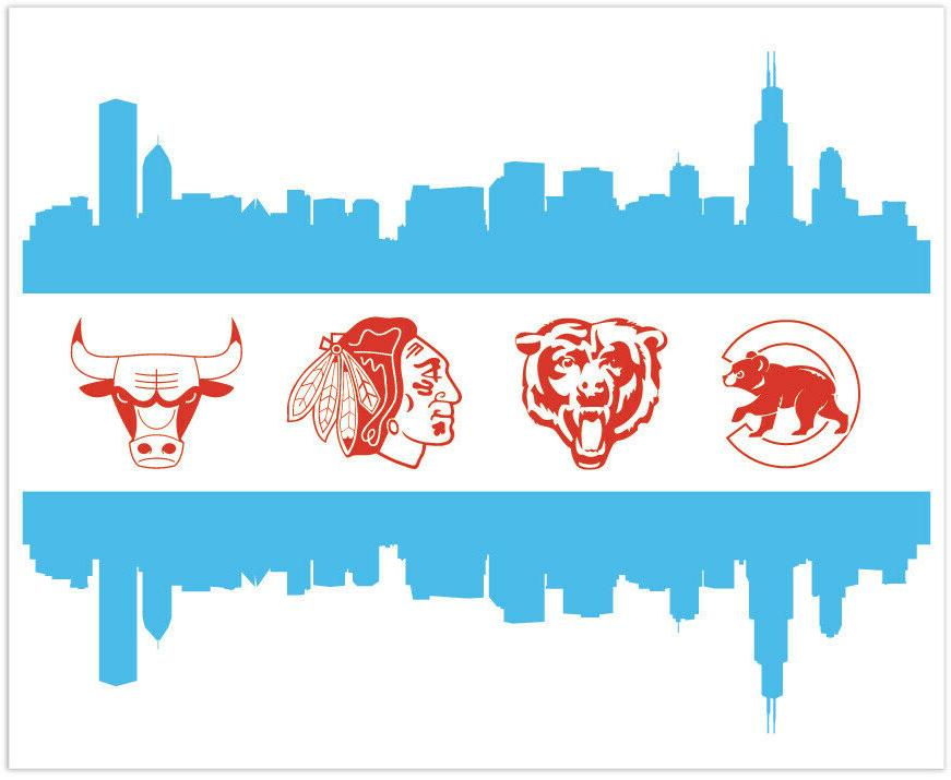 chicago sport teams flag logo vinyl sticker