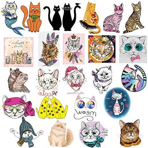 Cute 50-Piece Cartoon Cat Vinyl