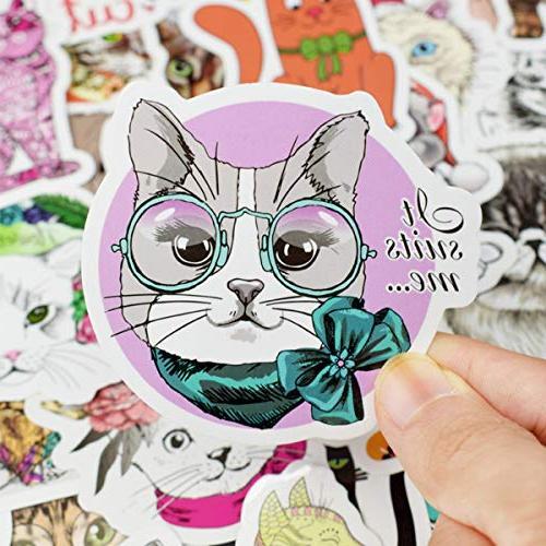 Cute Cat Sticker Sheet 50-Piece Cartoon Cat Vinyl