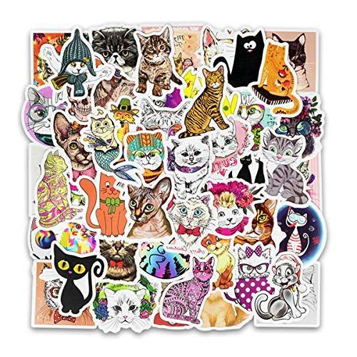 50-Piece Multicolor Cartoon Vinyl Stickers