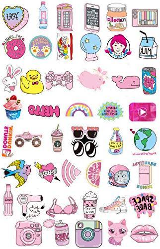 Floranea 105 Pcs Girl Stickers Vinyl Pink Waterproof for Laptop Phone Computer Bottles Skateboard Journal