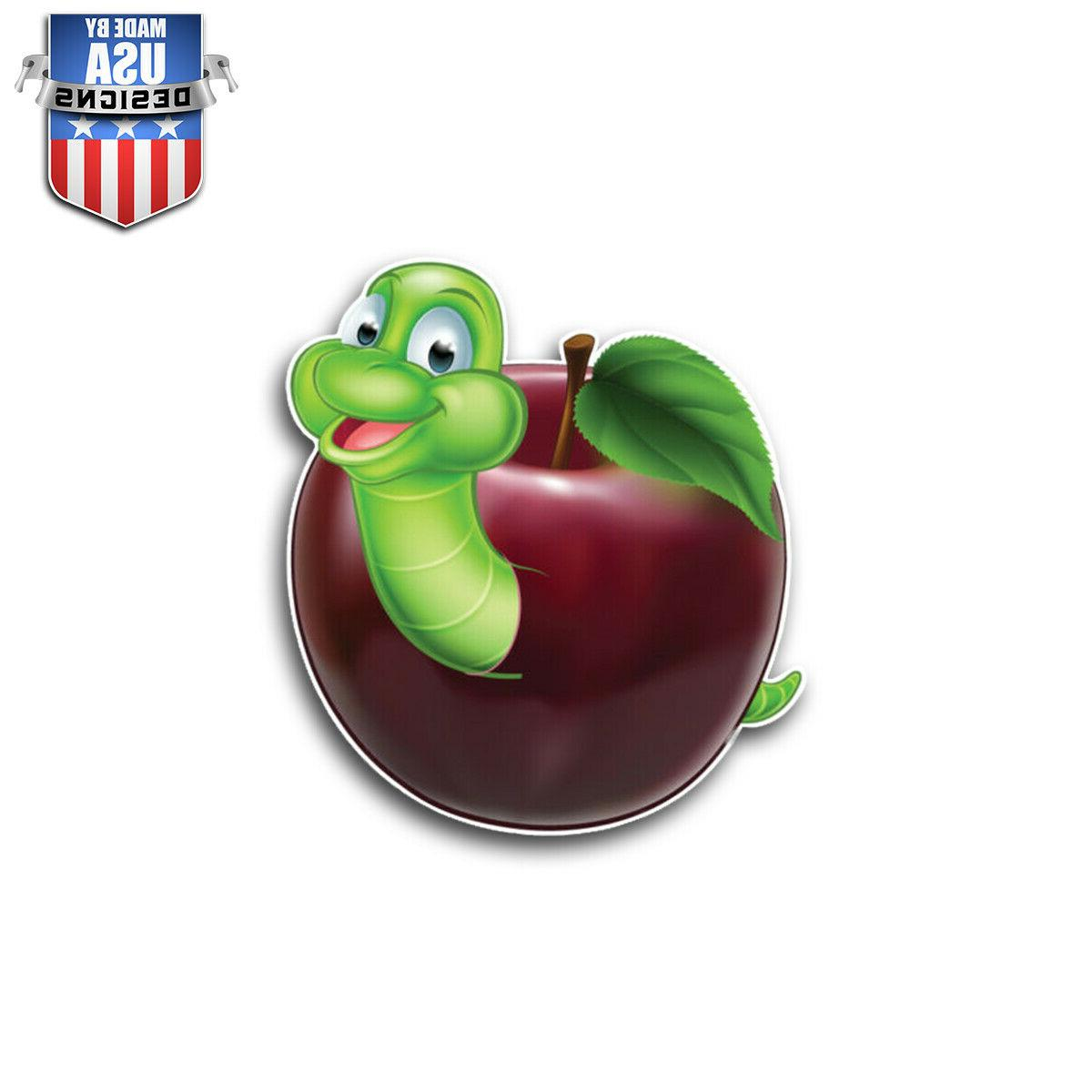 cute worm in apple sticker decal phone