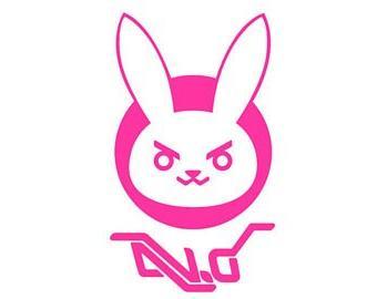 "D.VA Bunny Logo Overwatch - Vinyl 4"" tall  decal laptop tabl"