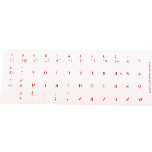 French QWERTY Keyboard Sticker laptop RED