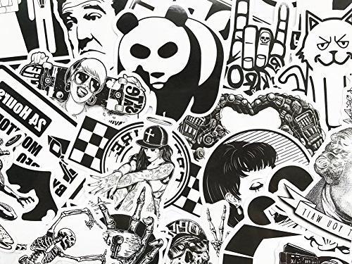DreamerGO Graffiti Stickers Pieces Black White Smooth Motorcycle Skateboard Laptop Vinyl Sticker