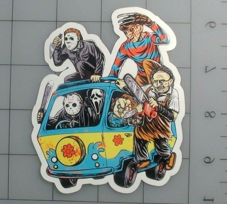 horror sticker scobby doo jason freddy skate