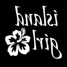 Island Girl Carribean Hawaii Flower Vinyl Decal Sticker|WHIT