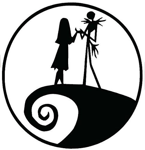 Nightmare Before Christmas Images Black And White.Jack And Sally Nightmare Before Christmas Black Decal