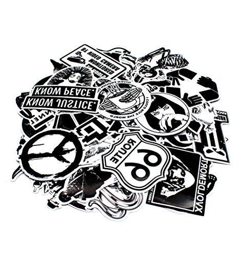 Nuoxinus Stickers Black White Car Stickers Skateboard Bike Bumper Stickers, Snowboarding Guitar Helmet Graffiti Stickers Decals