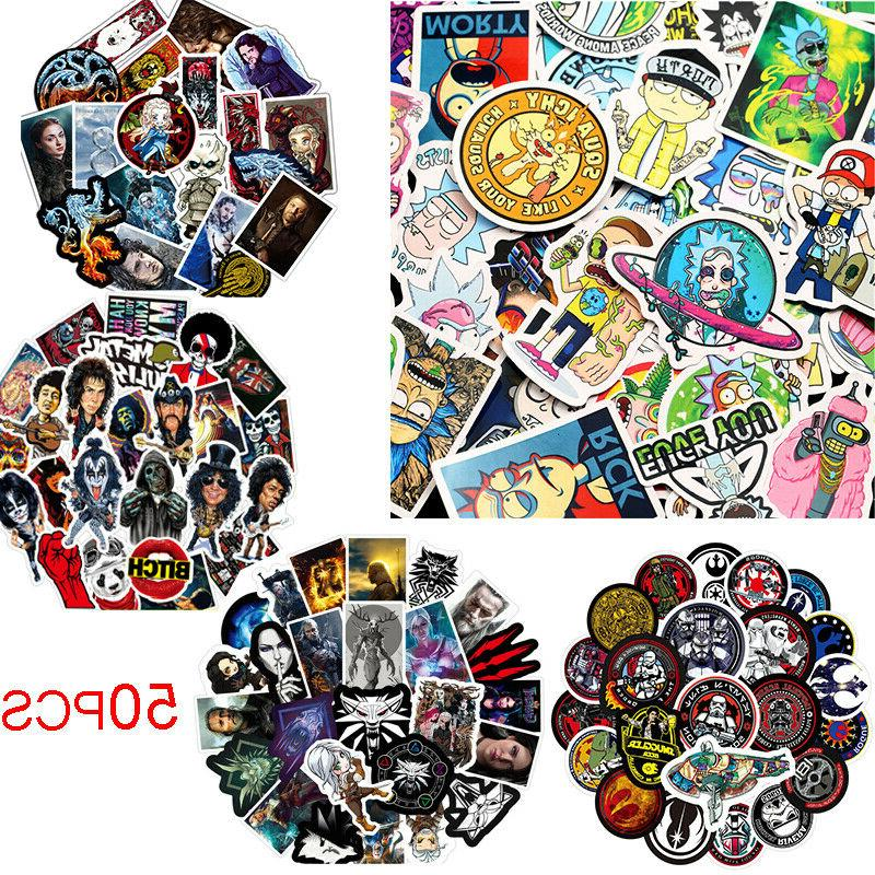 50 Mixed Skateboard Vinyl Sticker Skate Graffiti Laptop Lugg