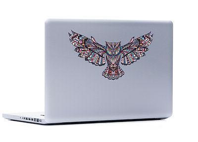 Ornate Owl Laptop or Automotive sticker auto