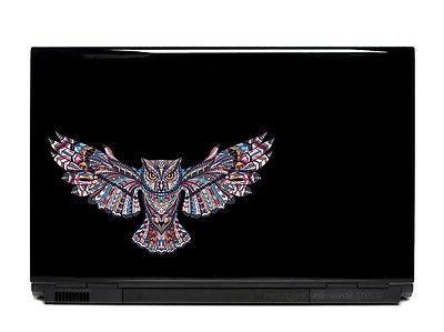 ornate flying owl vinyl laptop or automotive