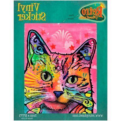 perky pink cat dean russo vinyl sticker