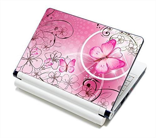 pink butterflies flowers netbook laptop