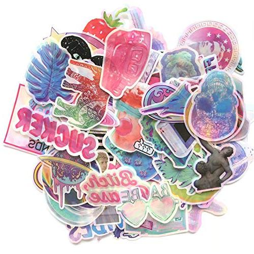 Godecal 80 Pack Laptop Stickers Cute Laptop Skateboard Luggage, Stickers Rainbow Lollipop Laser