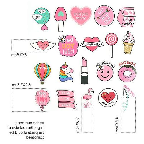 50PCS Pink Laptop Sticker, Bosiwee Vinyl Party Stickers for Girl Supplies Decorations