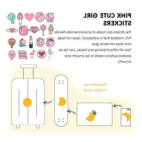 50PCS Pink Sticker, Cartoon Stickers Vinyl Party Stickers Girl Supplies Decorations