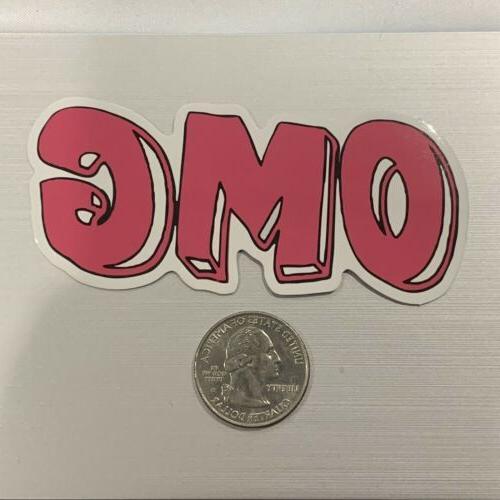pink omg sticker for skateboard luggage laptop