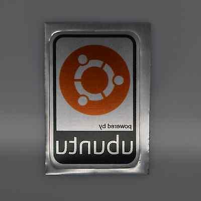 powered by ubuntu orange metal decal sticker