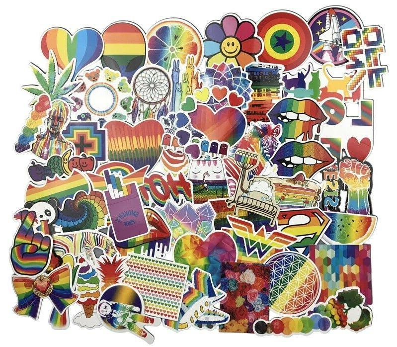 psychedelic rainbow pvc sticker pack lot laptop