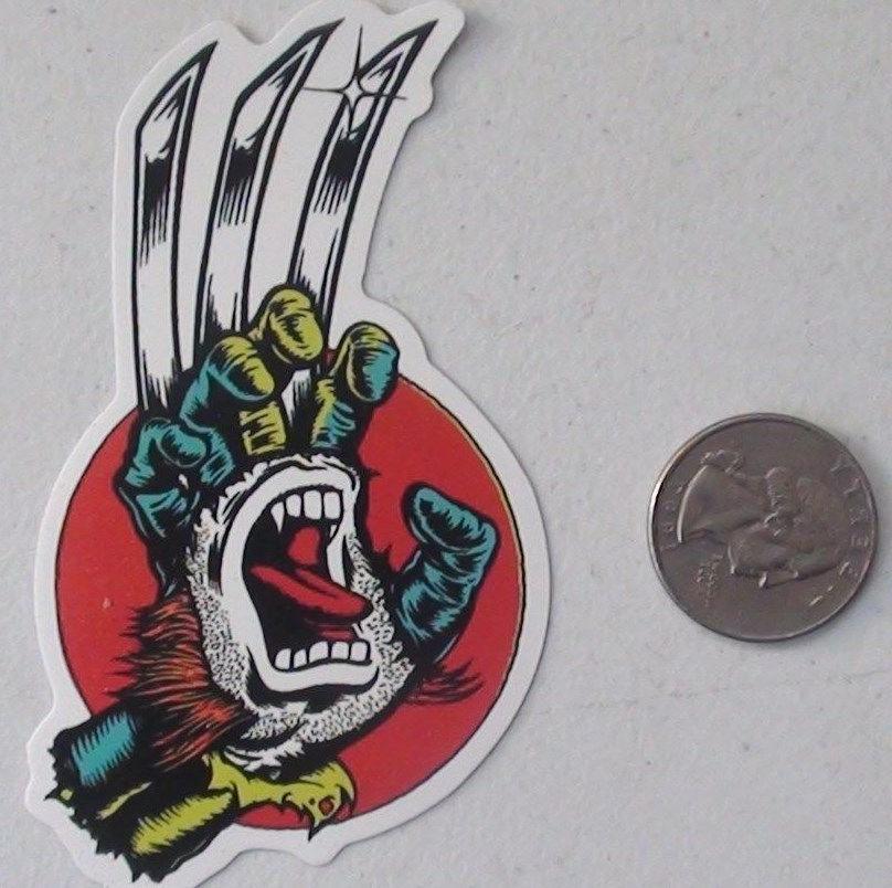 santa cruz sticker wolverine hand x-men skate skateboard cel