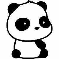 Sitting Panda Decal Cartoon Vinyl Sticker Laptop Car Window